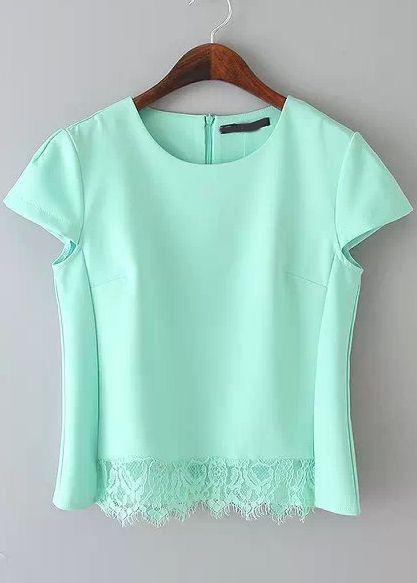 3b1cc5236c blusa manga de gorro encaje-verde 13.60