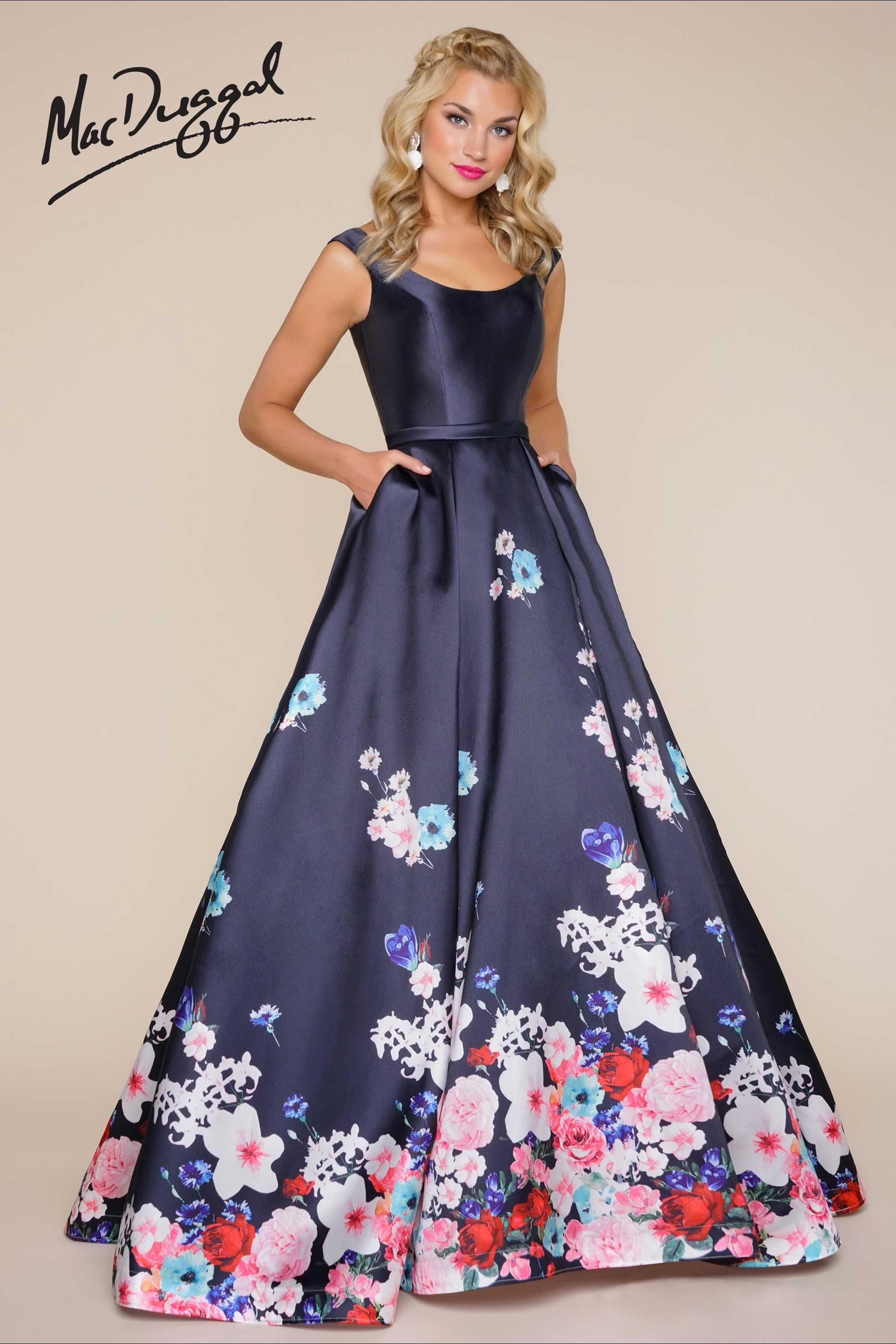 Navy floral print ball gown | Dresses/Skirts | Pinterest | Ball ...