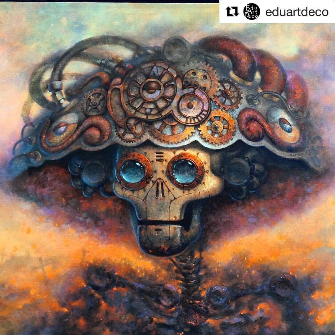 Catrina del futuro  por Racrufi #calavera #skull #diademuertos #neomexicanismos