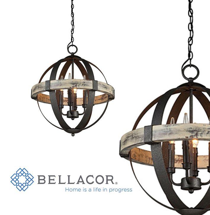 artcraft castello black and aspen wood fourlight 20inch wide chandelier