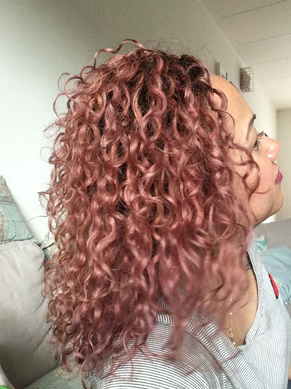 rose gold curly hair. hizihair | hair in 2019 | curly hair