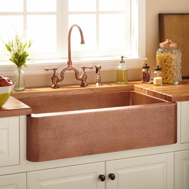 Copper Kitchen Sinks Replacing Sink Sprayer Hose 35 Fiona Hammered Farmhouse