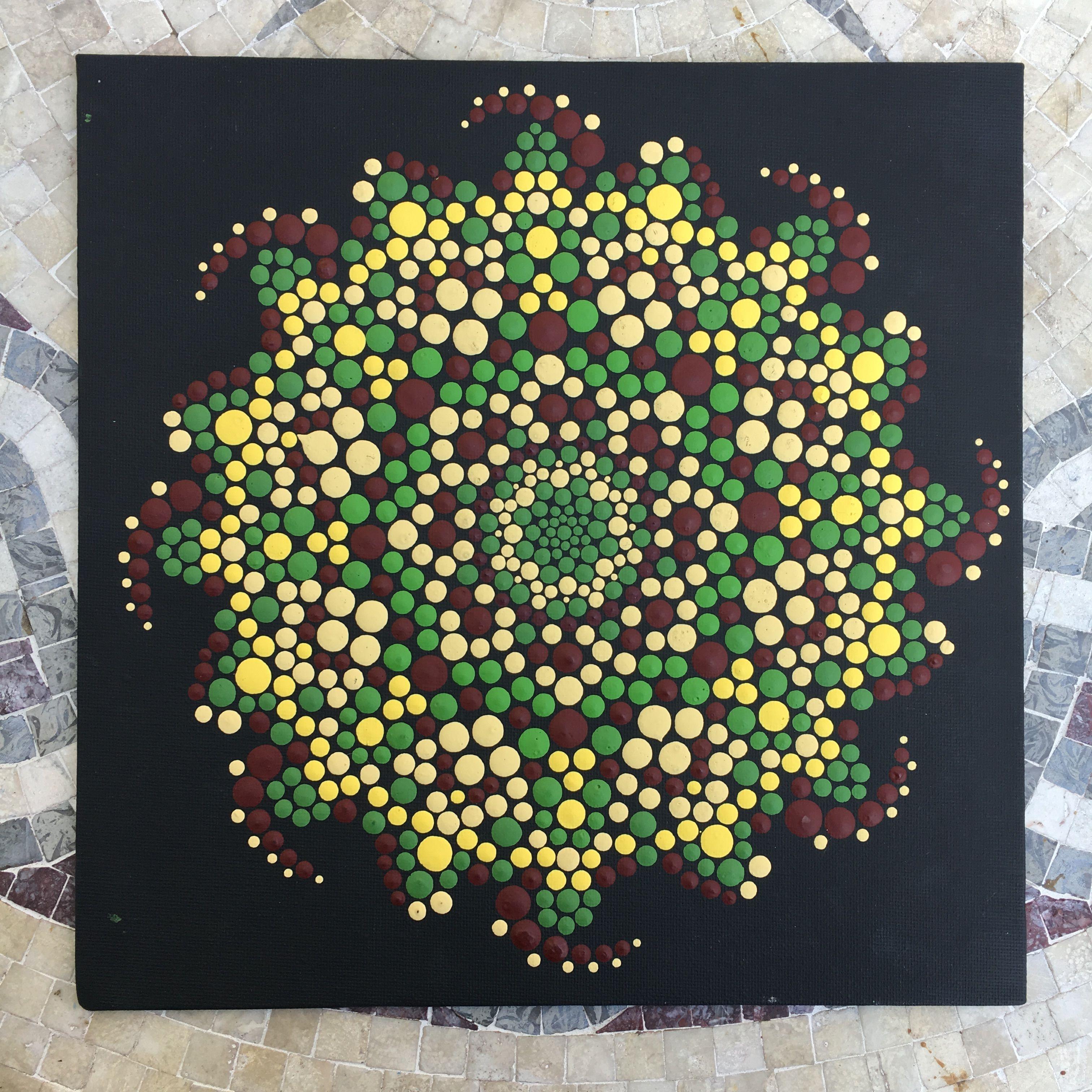 10X10 Canvas Panel W Free Display Frame Mandala Dot Art