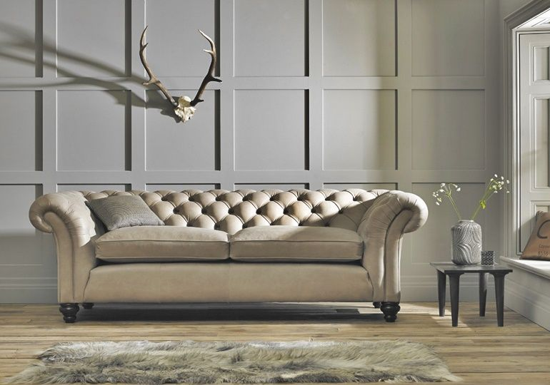 Best Hand Crafted Arlington Chesterfield Leather And Fabric 400 x 300