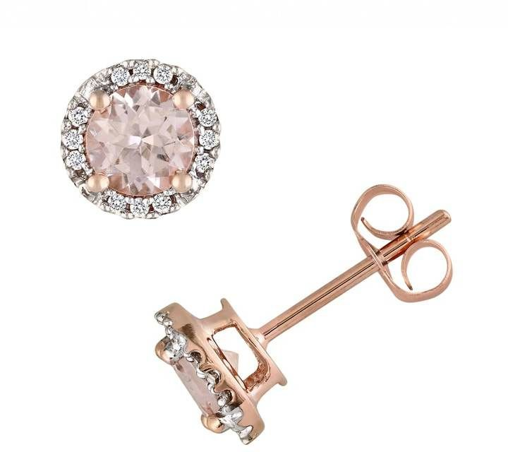 Kohl S 10k Rose Gold Morganite And Diamond Accent Stud Earrings Rose Gold Studs Fashion Jewelry Jewelry