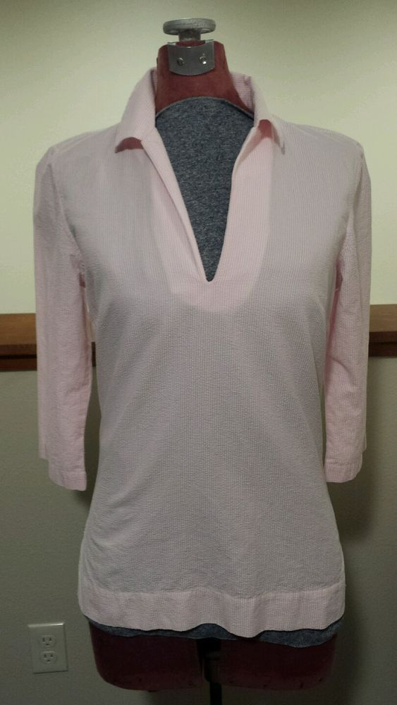 Womens Small 8 Lands End Pink Seersucker Tunic Top V Neck 3/4 Sleeves EUC #LandsEnd #Tunic #Casual #SeerSucker #Pink #VNeck