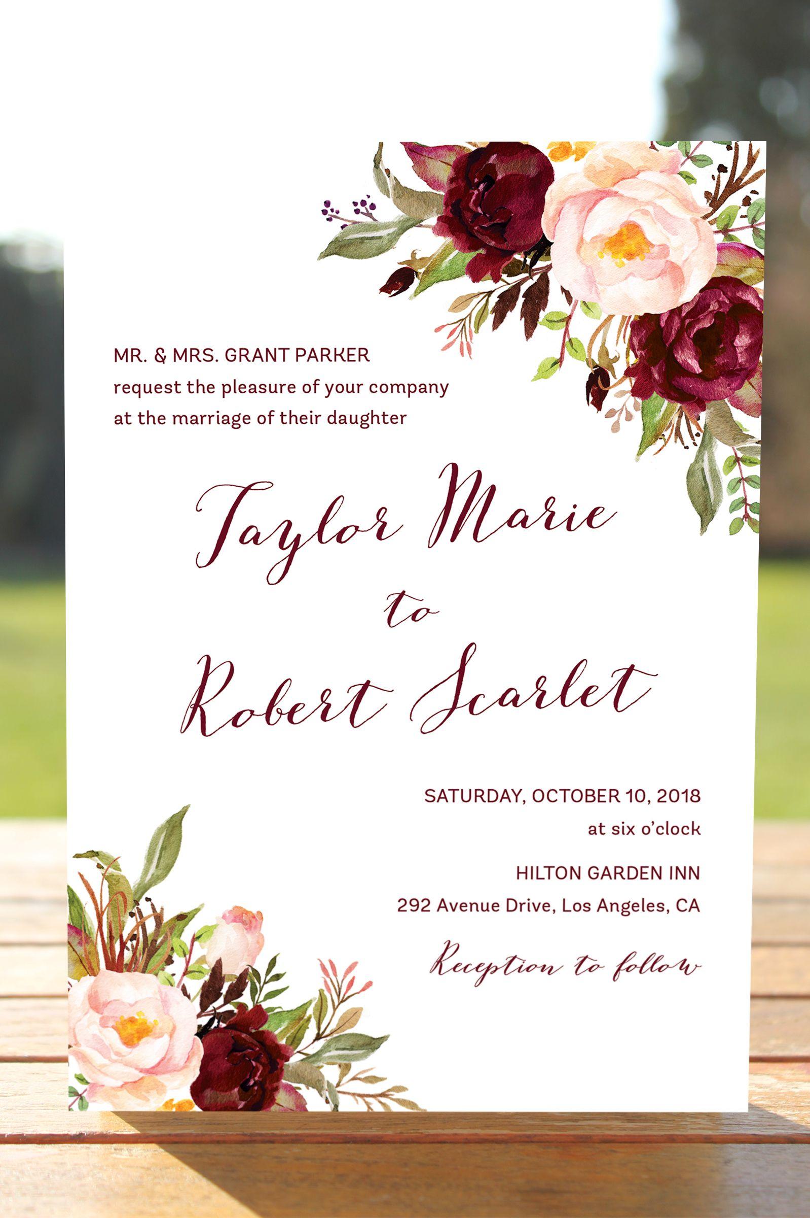 Marsala Wedding Invitation Set Burgundy Blush Invites Bohemian Invitations Fl Fall Winter