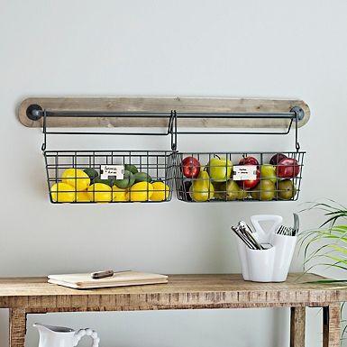 Wire Basket Wall Organizer Baskets On Wall Kitchen Wall Decor