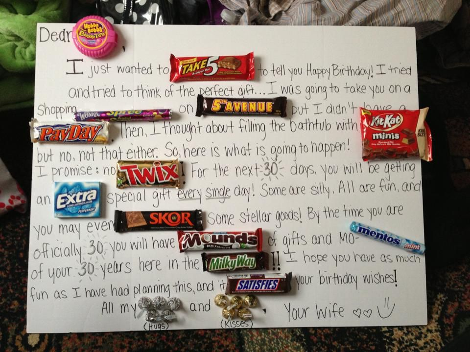 For My Husbands 30th Birthday Im Giving Him 30 Gifts One Each Day This Is How I Told It Would Happen Candygram Husband