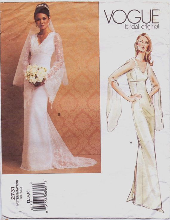 Vogue Bridal Original Pattern 2731 Womens Straight Wedding Dress ...