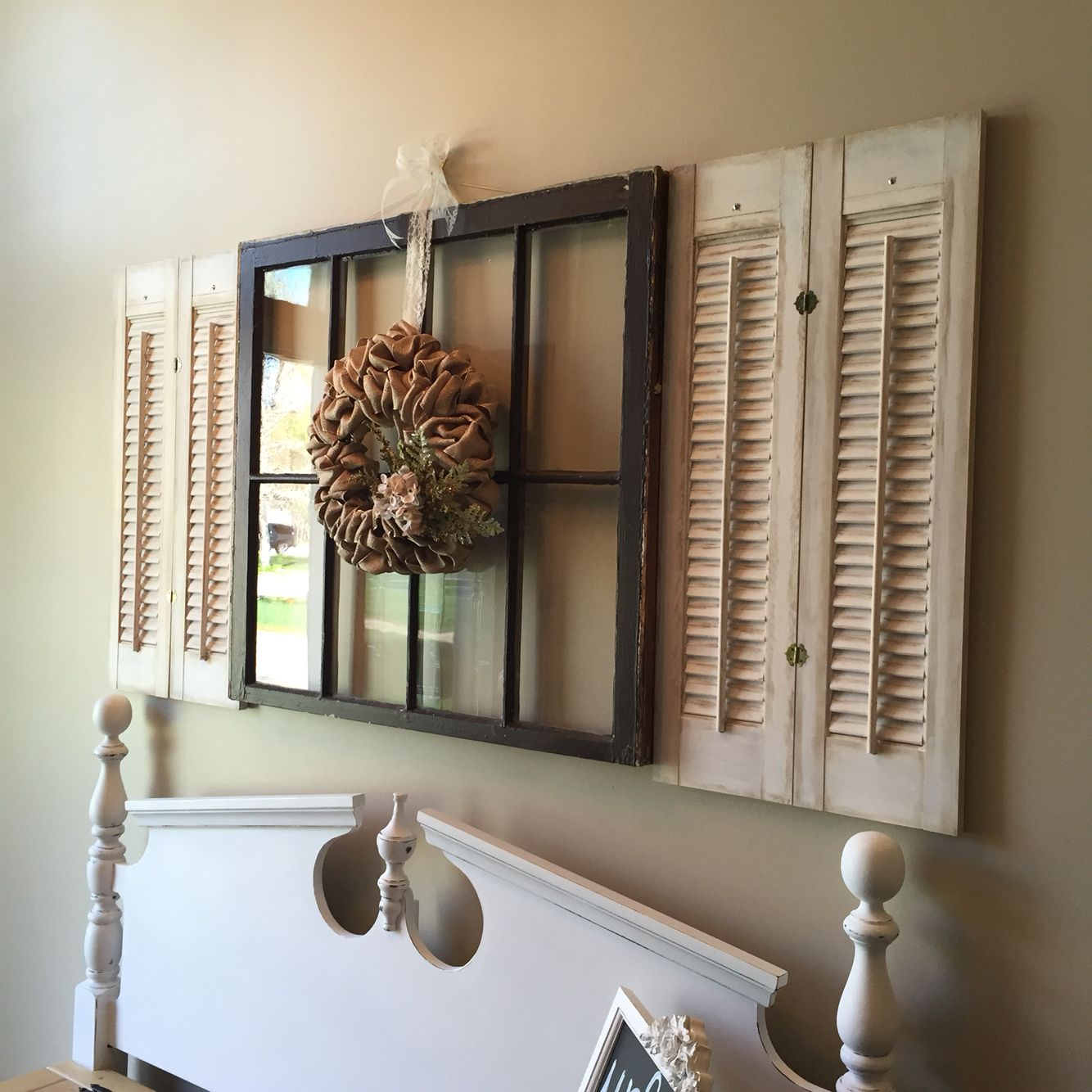 Antique window accented by a burlap wreath I made. Old ...