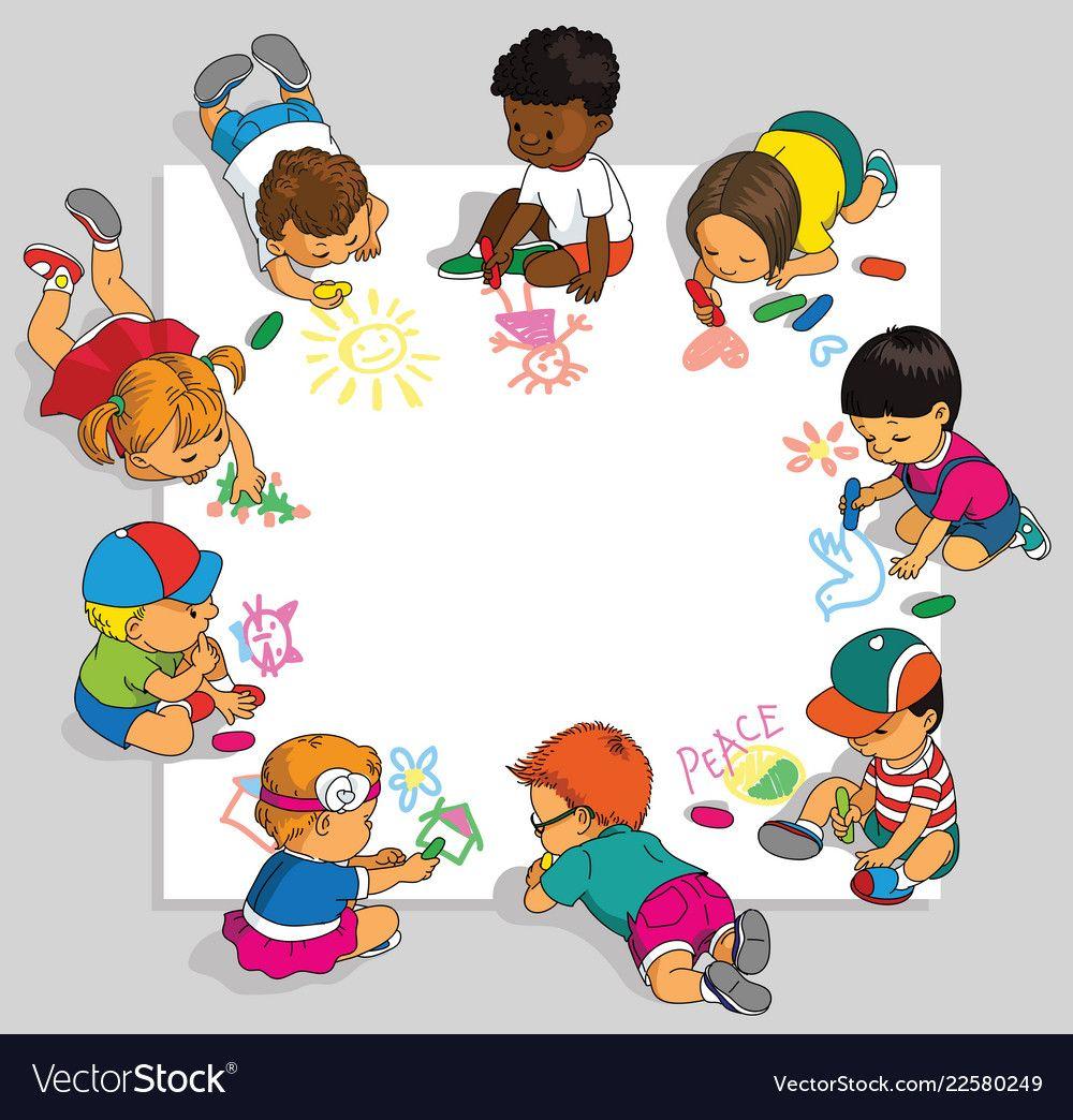 Group Of Children Vector Image On Vectorstock Drawing For Kids Happy Kids School Stickers