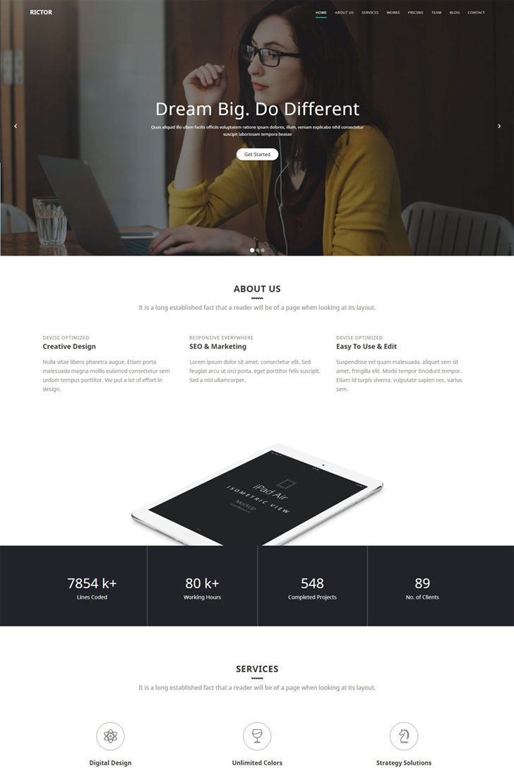 Responsive #HTML5 #Business & #Agency #Template.Rictor is clean ...