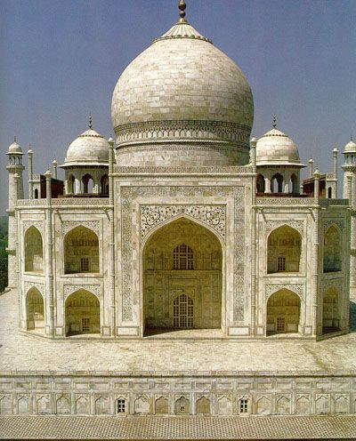 "Taj Mahal, Agra, India ~ was built by a Muslim, Emperor Shah Jahan (died 1666 C.E.) in the memory of his dear wife and queen Mumtaz Mahal at Agra, India. It is an ""elegy in marble"" or some say an expression of a ""dream."" Taj Mahal (meaning Crown Palace) is a Mausoleum that houses the grave of queen Mumtaz Mahal at the lower chamber. The grave of Shah Jahan was added to it later."