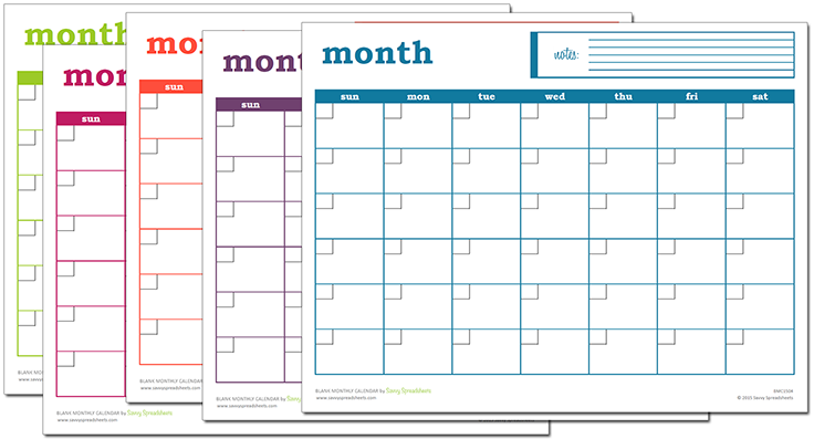 Blank Monthly Calendar Excel Template Blank Monthly Calendar