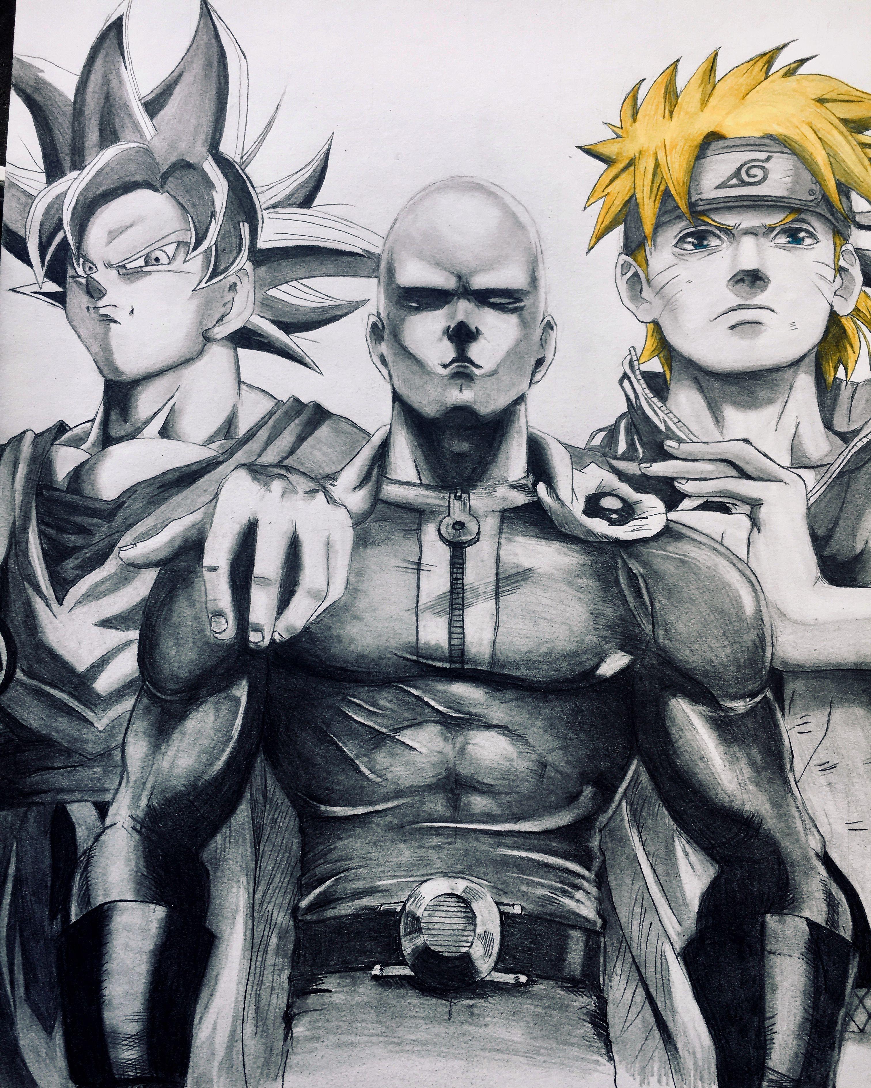 Goku Saitama And Naruto One Punch Man Anime Saitama One Punch Man One Punch Man