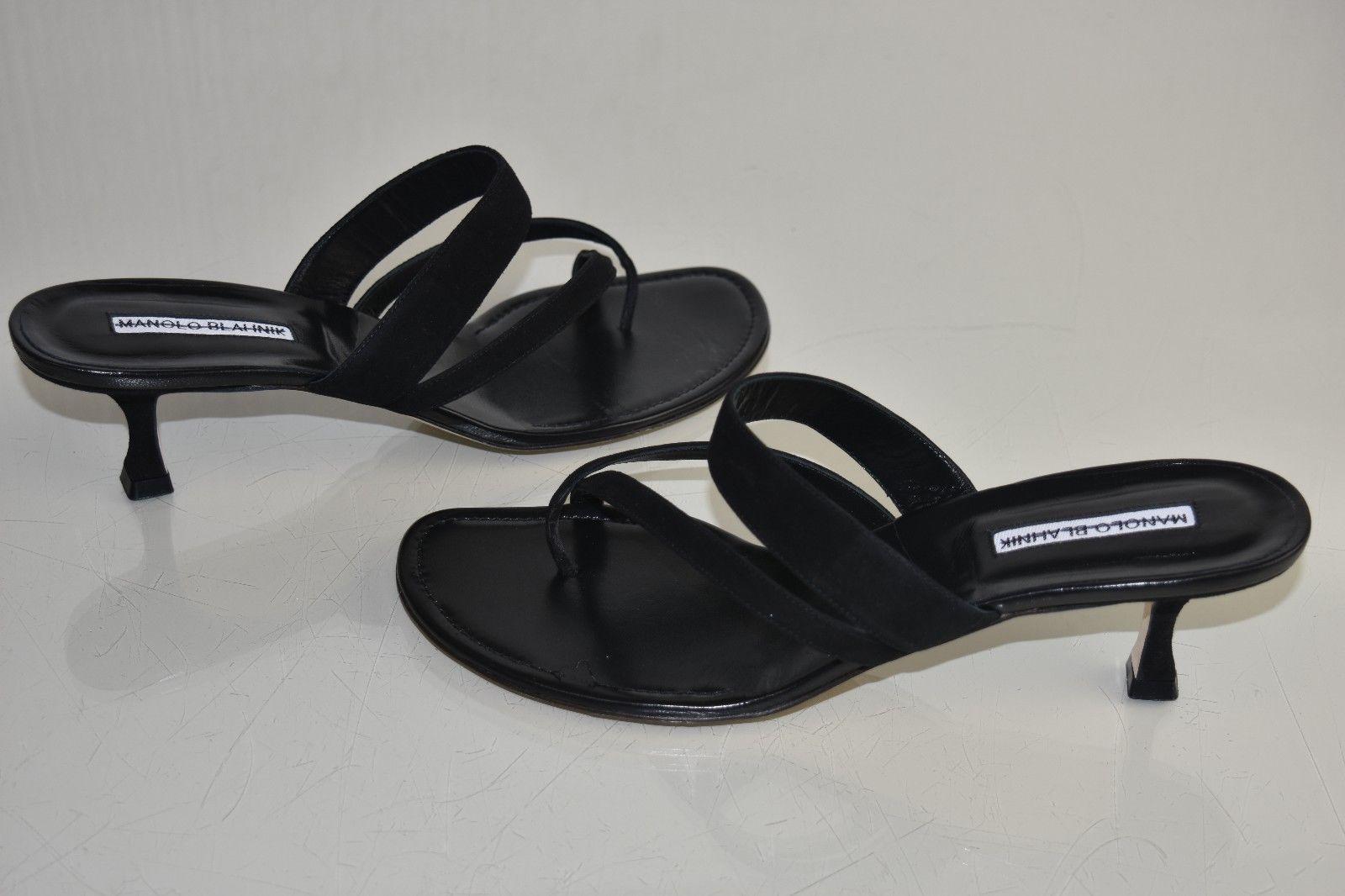 New Manolo Blahnik Susa 50 Black Suede Slide Kitten Heels Sandals Pumps Shoes 41 Kitten Heel Sandals Pump Shoes Kitten Heels