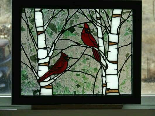 Pin By Cheri Toliver Gibbons On Mosaics Stained Glass Stained Glass Cardinal Faux Stained