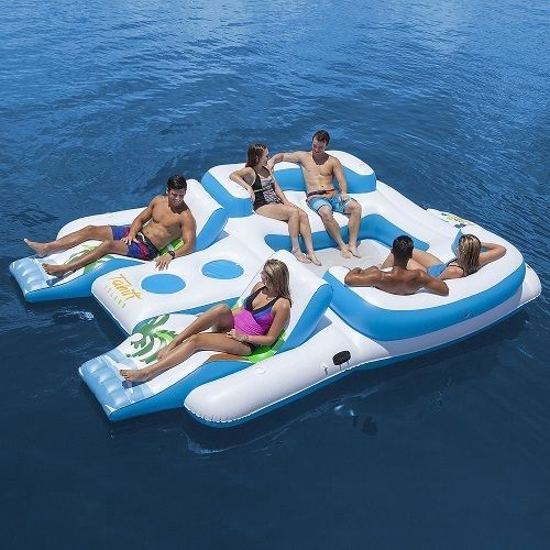 6 Person Floating Lounger Island Inflatable for Pool Beach Lake Outdoor Raft NEW