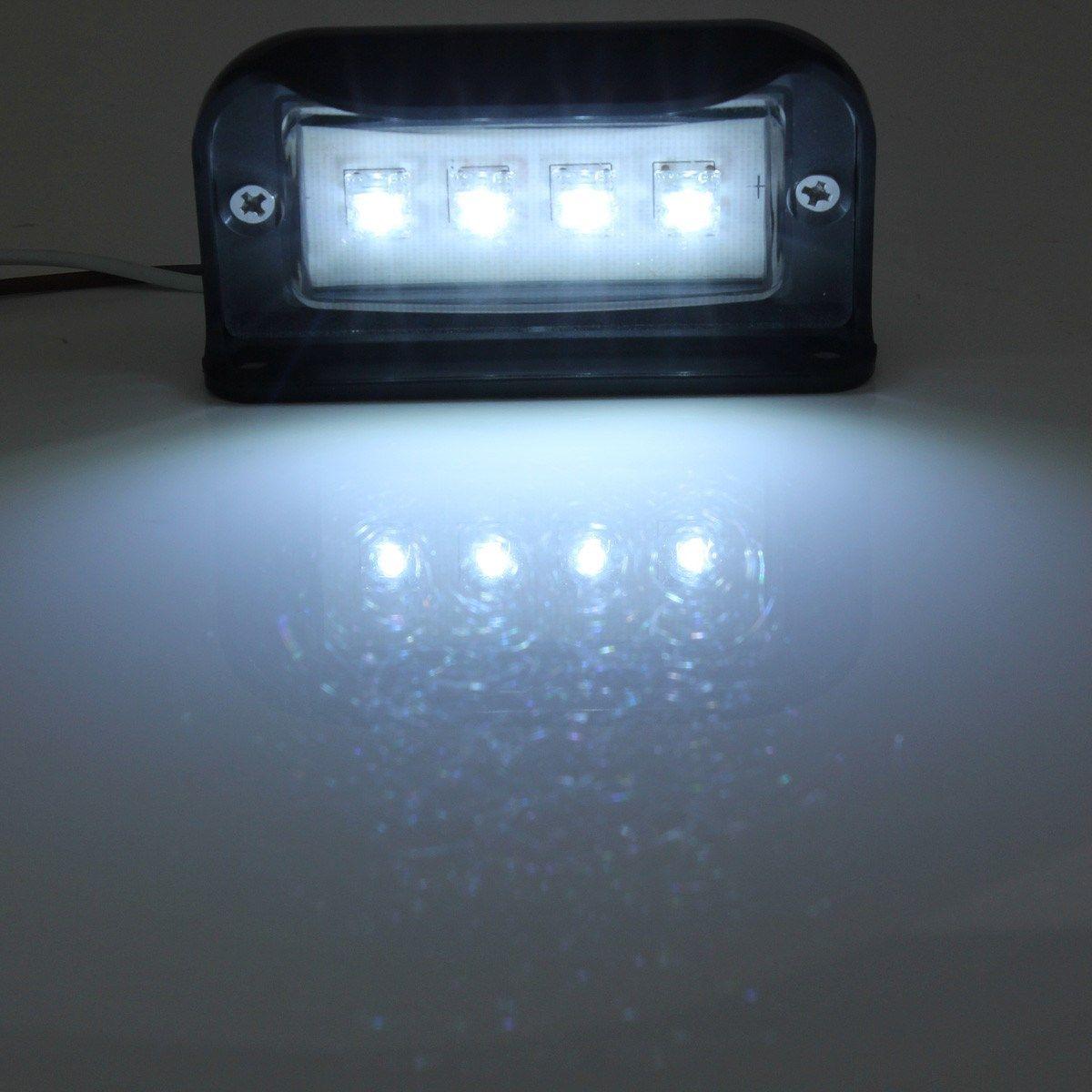Universal Black 10-30V Waterproof 4 LEDs Number License Plate Light ...