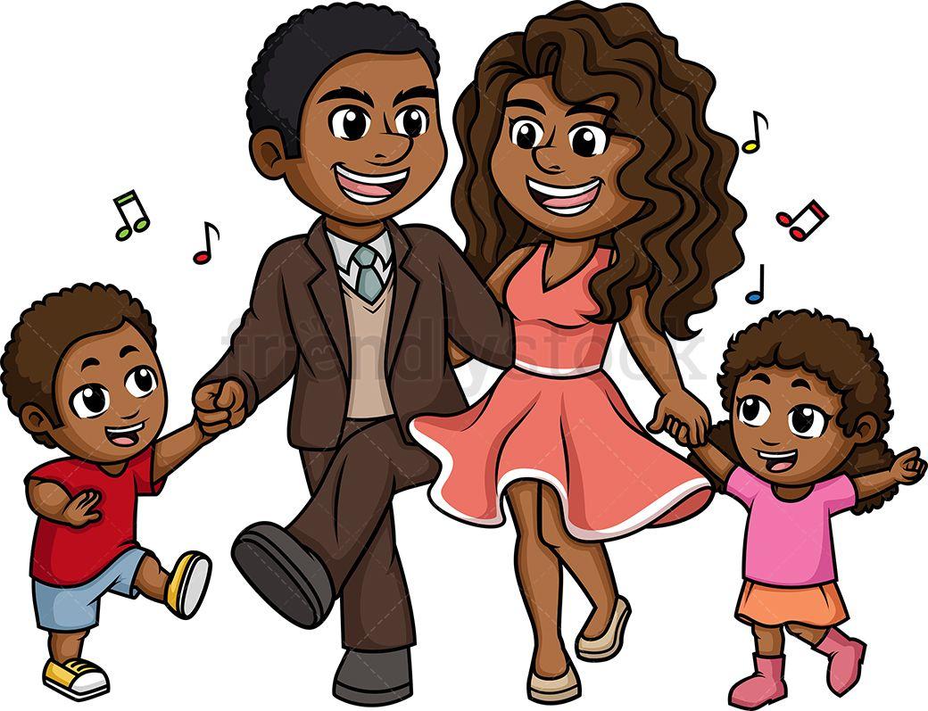 African American Black Family Dancing Cartoon Clipart Vector Friendlystock Family Cartoon African American Family Family Illustration
