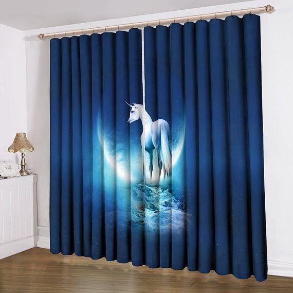 Unicorn printing curtain satin blue home decorating ideas for Galaxy sheer fabric
