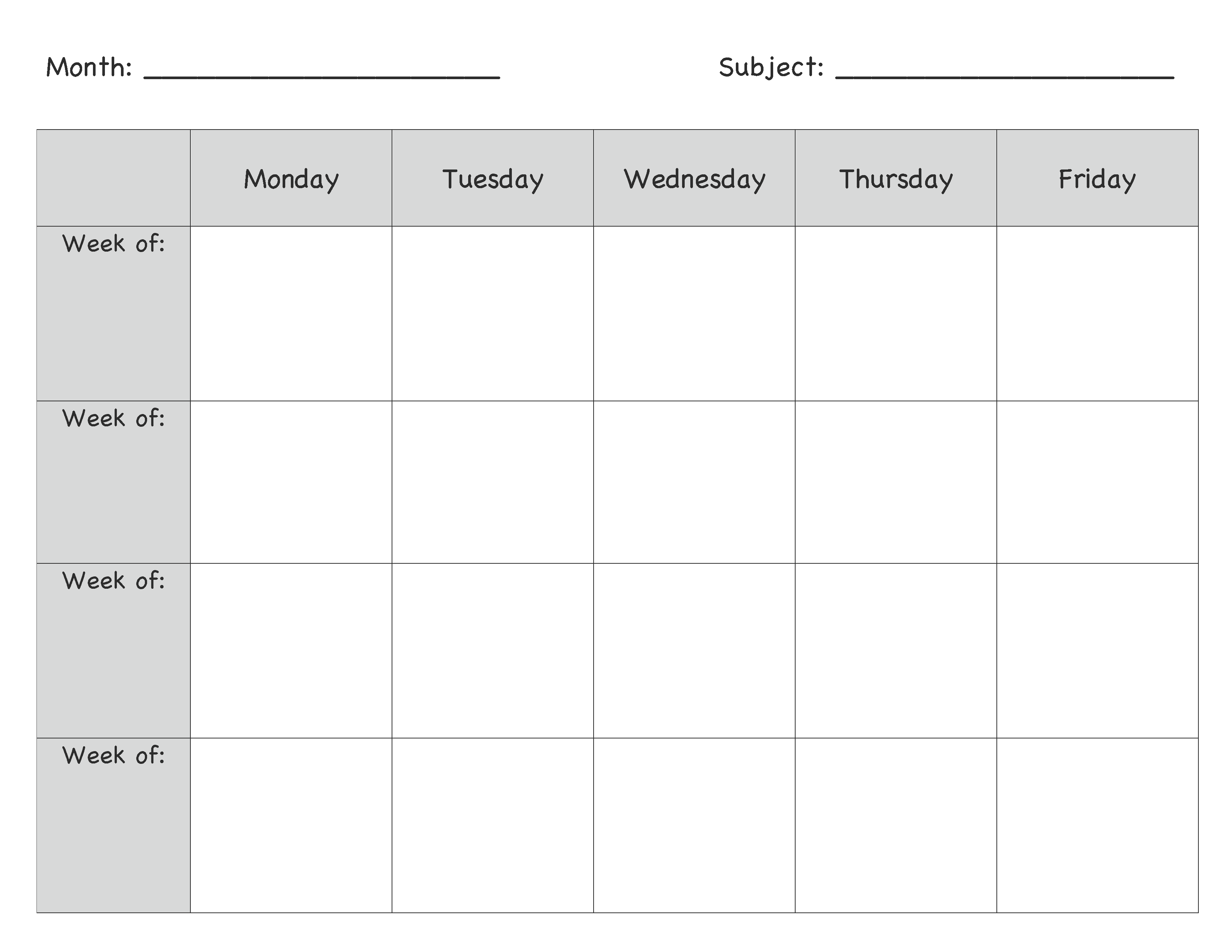 Monthly Lesson Plan Template … | Pinteres…