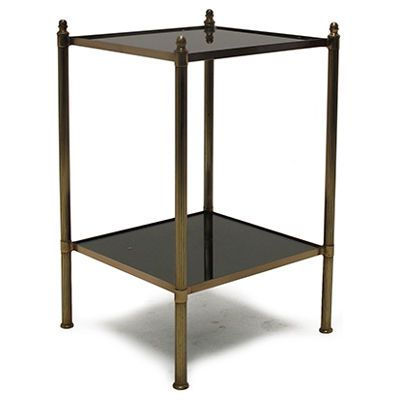 Vintage Square Brass And Smoked Glass Two Tier Side Table French - Two tier glass side table