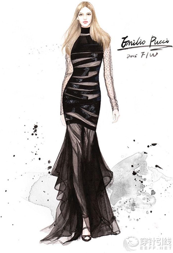 Pintados a mano dibujo a l piz vestido de dise o de ropa for Diseno de ropa