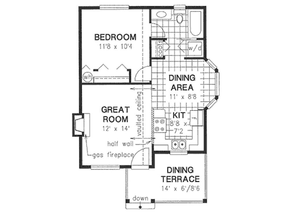 Cottage Style House Plan 1 Beds 1 Baths 607 Sq Ft Plan 18 4462 Floor Plan Design Cottage Style House Plans Home Design Floor Plans