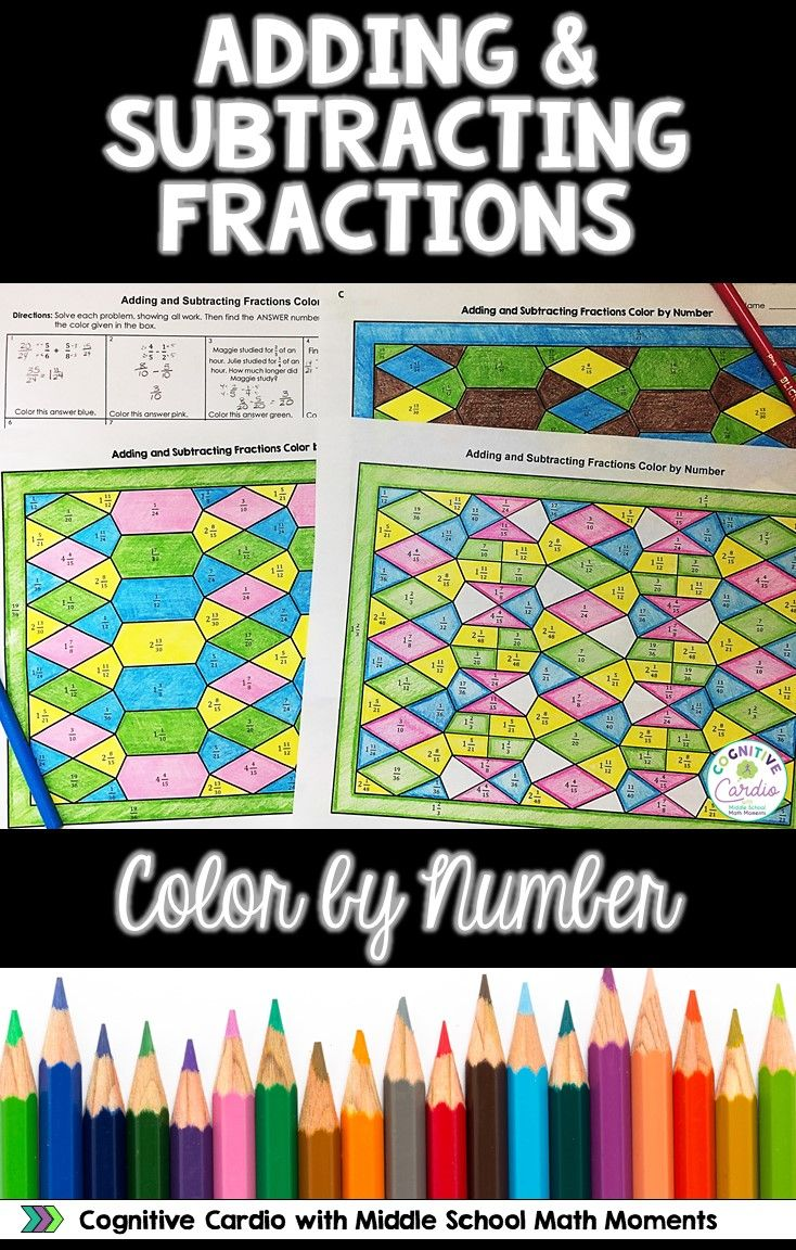 Adding & Subtracting Fractions Color by Number Activity | Pinterest ...