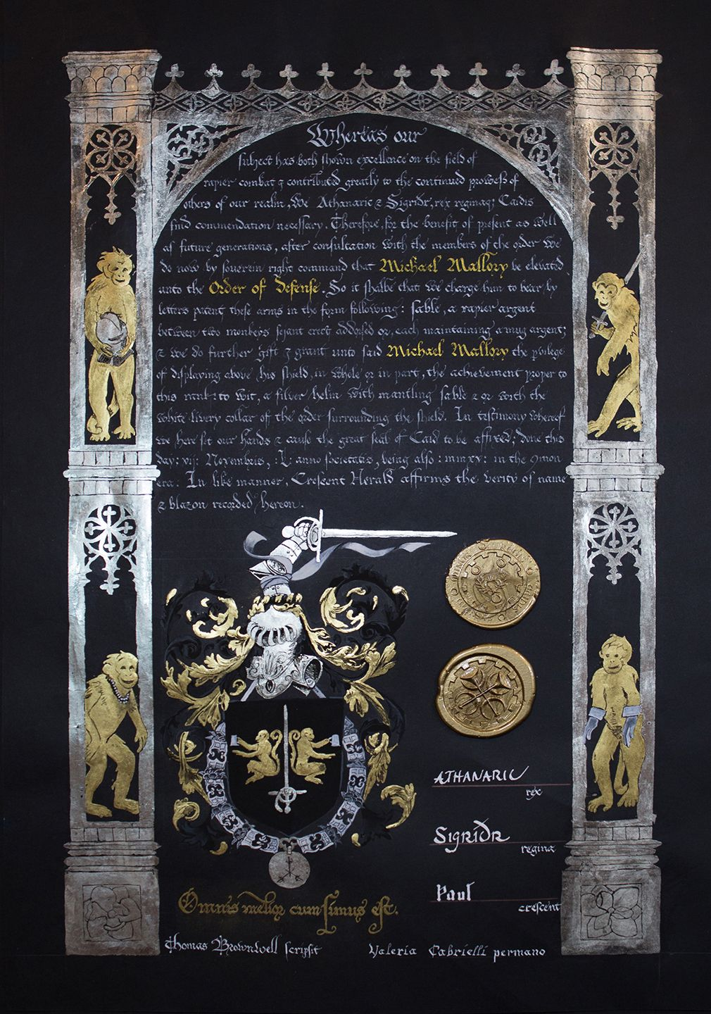 Master of Defense Scroll for Master Michael Mallory.  Calligraphy by Master Thomas Brownwell.  Illumination by me, Valeria Cabrielli (Nora Kirkeby).  27 sheets of gold leaf in all (20 white and 7 yellow).  Based on armorial plates for the Order of the Golden Fleece.