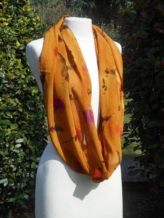 21442b3e370 snood foulard étole écharpe  femme  lin eva  violet et jaune ocre moutarde