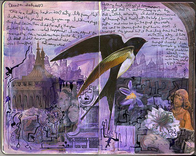 Purple bird - art journal page by QueenofTarts, via Flickr