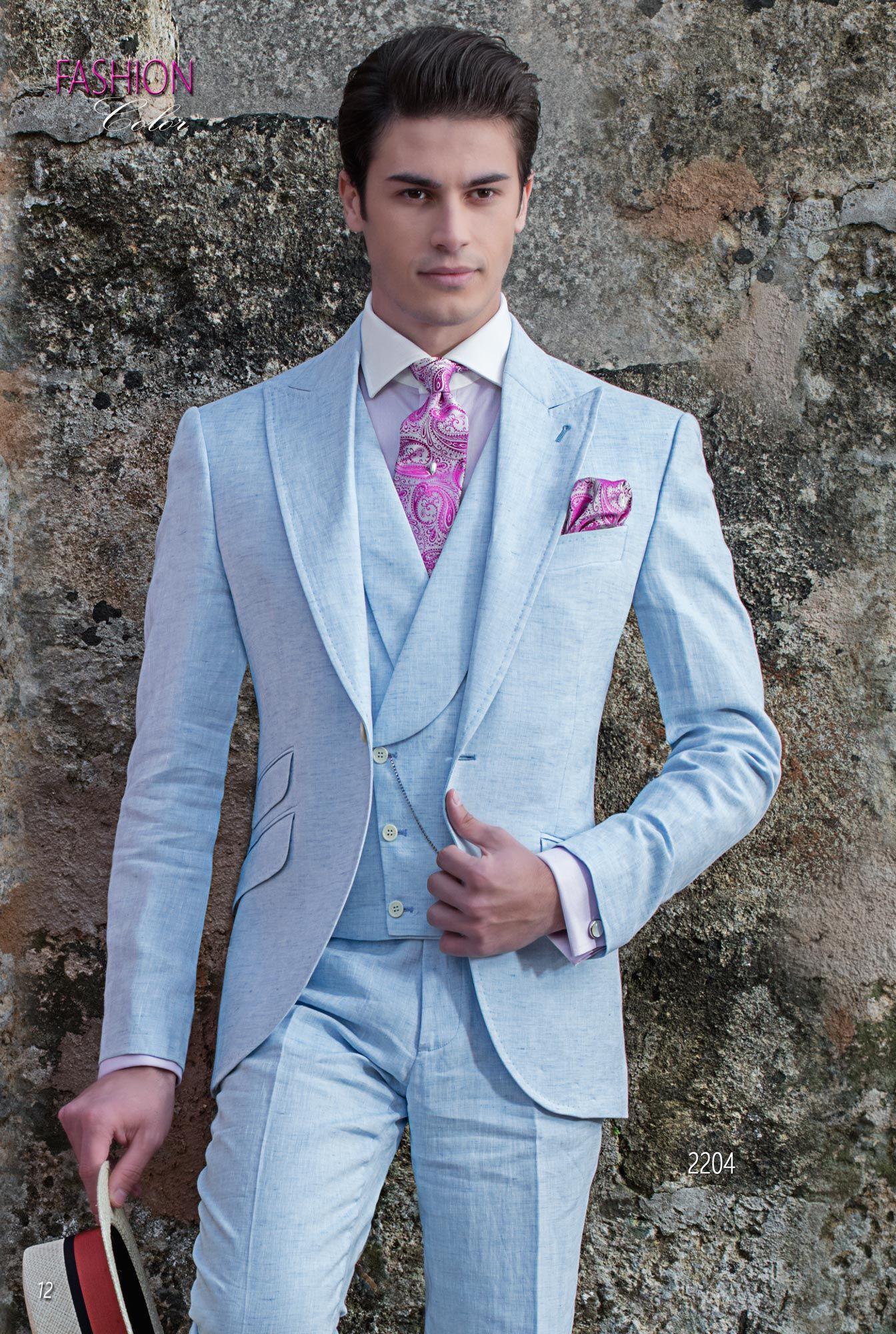9b85257f4416 Abito vintage estivo moda sposo fashion puro lino celeste. Completo ONGala  2204. Collezione Fashion Color 2018