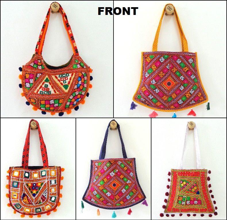 274ffedb19 Wholesale Lot of 5 piece Kutch Embroidered Shoulder Bag - Vintage Mirror  work Handbag - Banjara