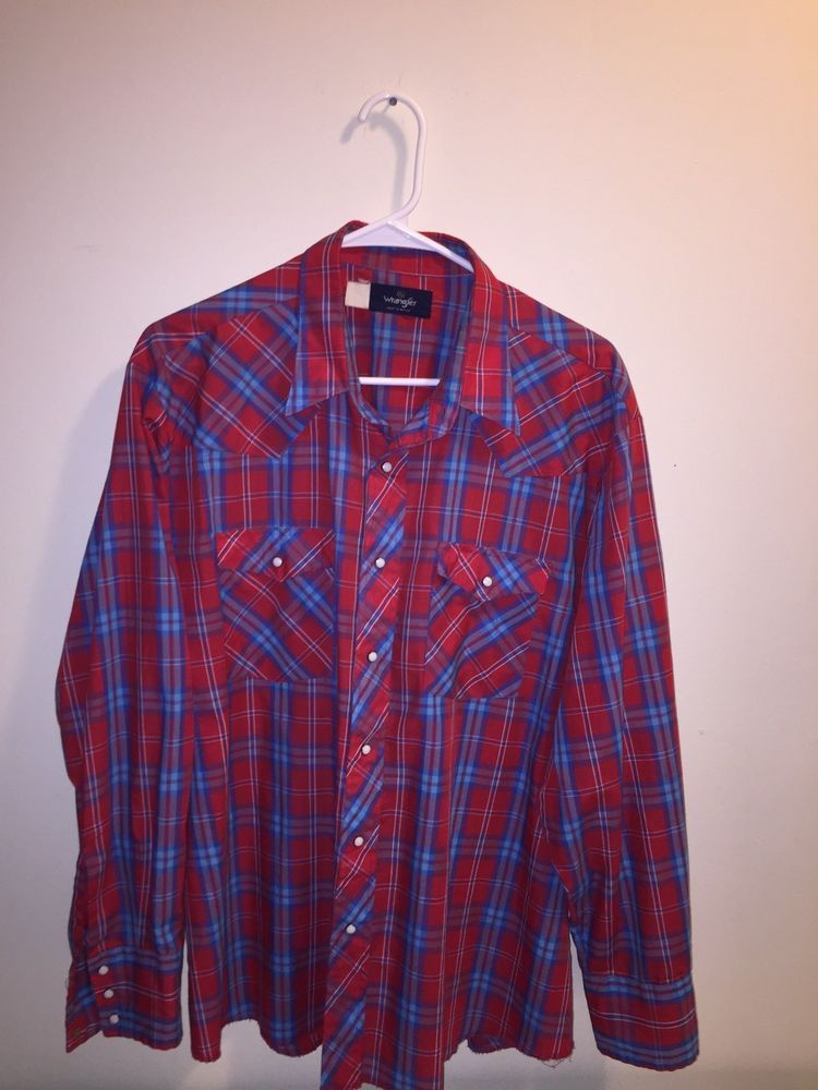 f8b34e3d Wrangler Western Pearl Snap Plaid Shirt Vintage Long Sleeve Red & Blues  Men's XL #Wrangler #Western