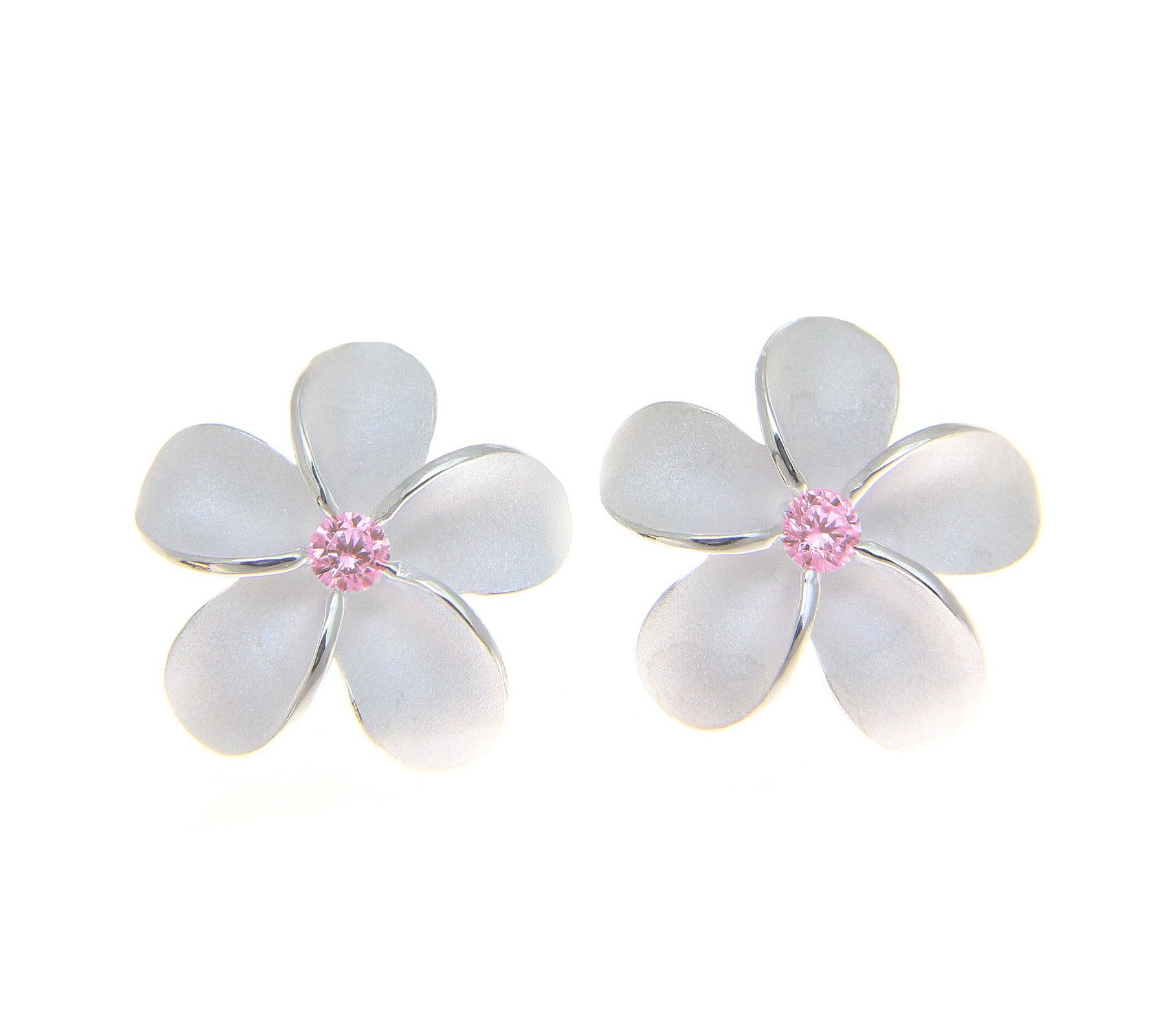 Sterling silver 925 hawaiian plumeria flower stud post earrings 15mm sterling silver 925 hawaiian plumeria flower stud post earrings 15mm pink cz izmirmasajfo