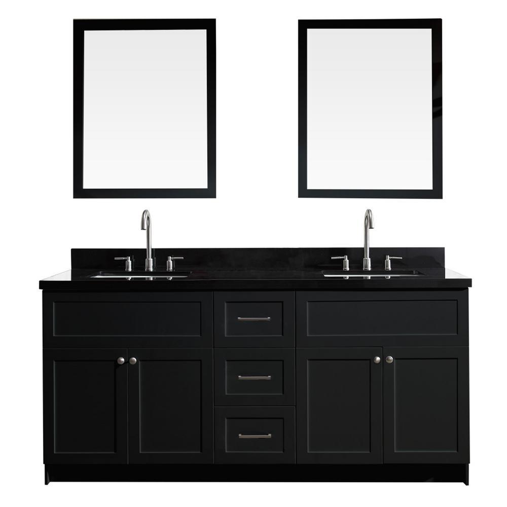 Ariel Hamlet 73 In Bath Vanity In Black With Granite Vanity Top In Absolute Black With Wh In 2020 Granite Vanity Tops Double Sink Bathroom Vanity Bathroom Sink Vanity