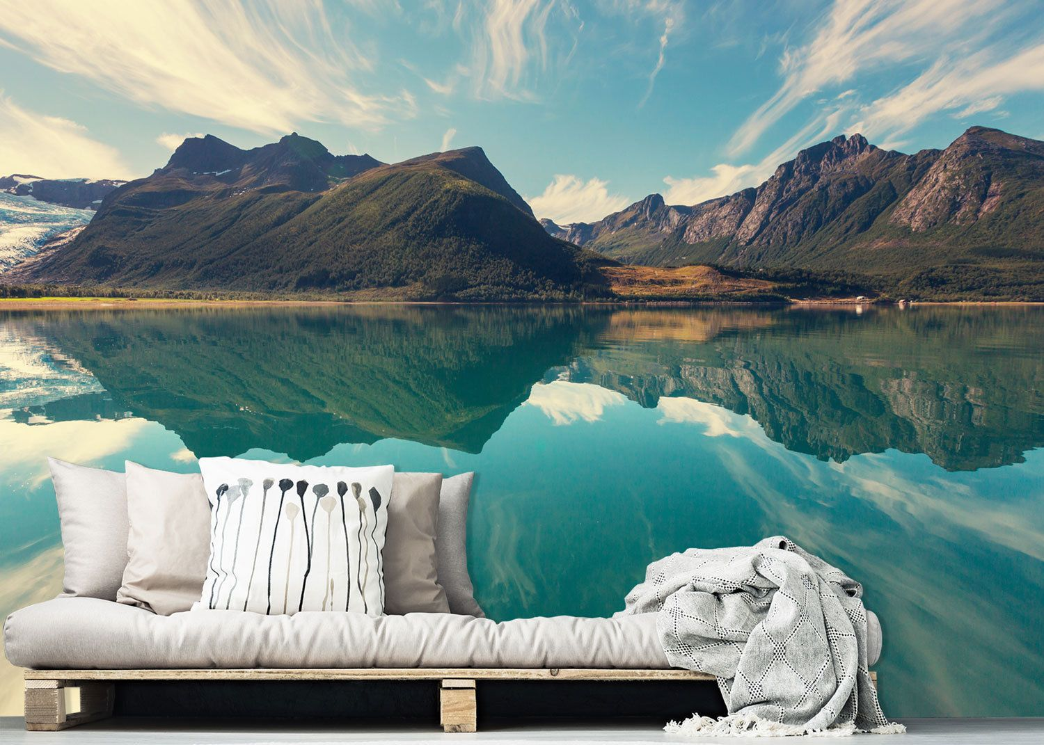 Crystal Summer Nature Scene Wall mural, Lake and Mountain