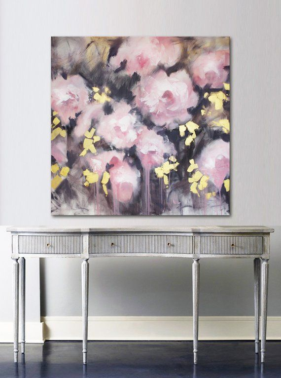 36x36 Extra Large Original Wall Art Large Pink Abstract Etsy Contemporary Art Canvas Abstract Canvas Painting Peony Painting
