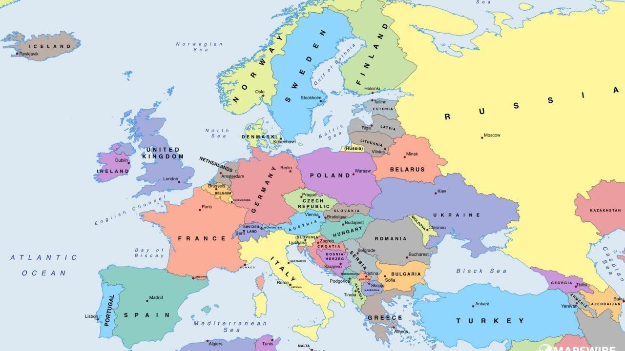 ما هي الدول الأوروبية Europe Map Political Map World Political Map