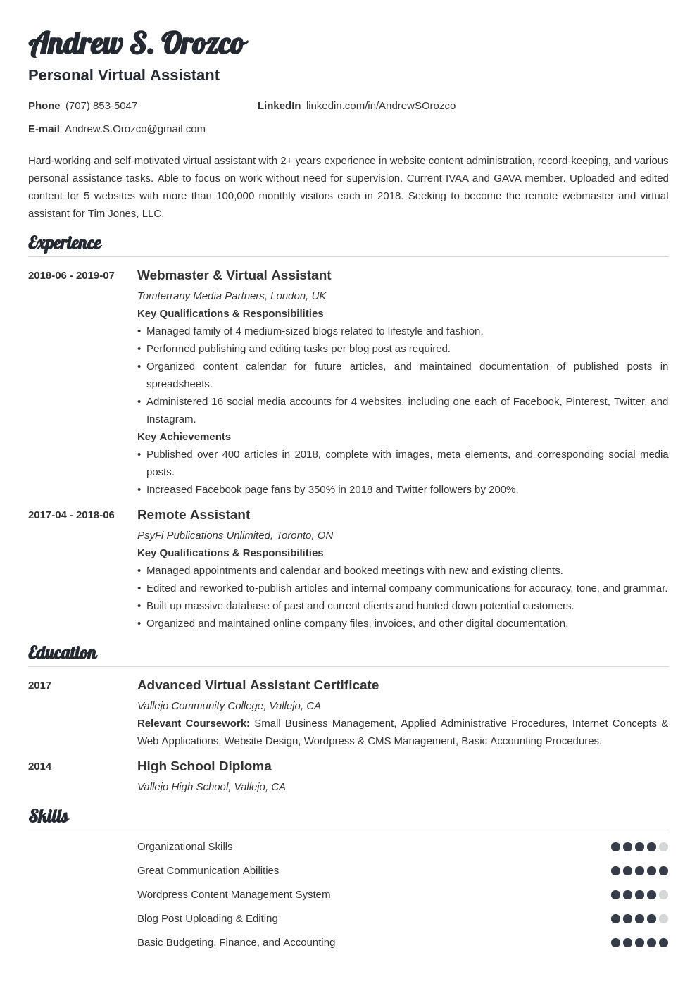 Virtual Assistant Resume Example Template Valera Resume Examples Job Resume Examples Virtual Assistant