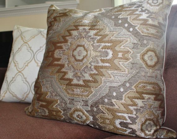 Aztec Pillow Cover Grey Gold Ikat Pillow Cover By Motifpillows