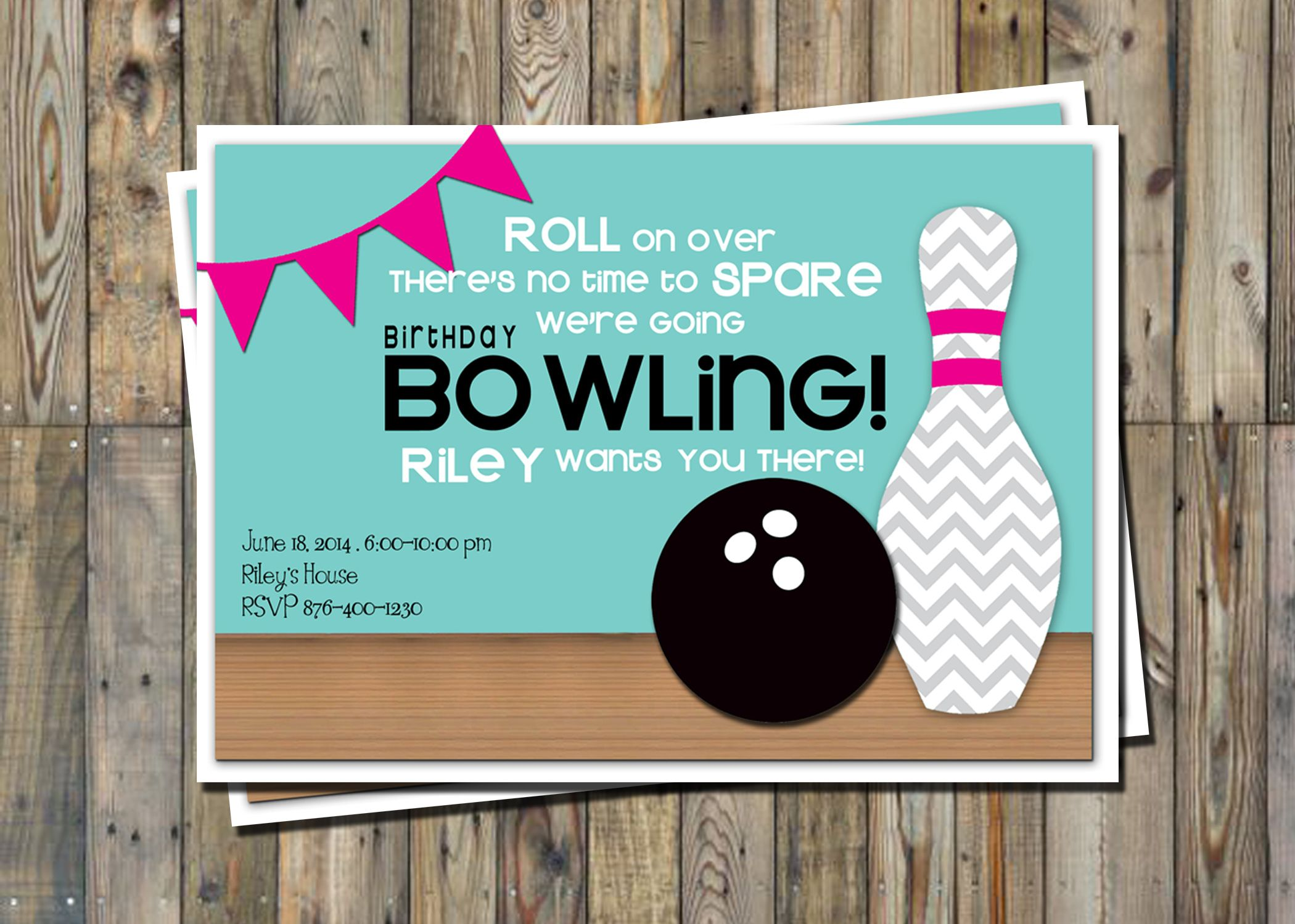 Cute Bowling Party Invitation Printable Party Pack From Pretty