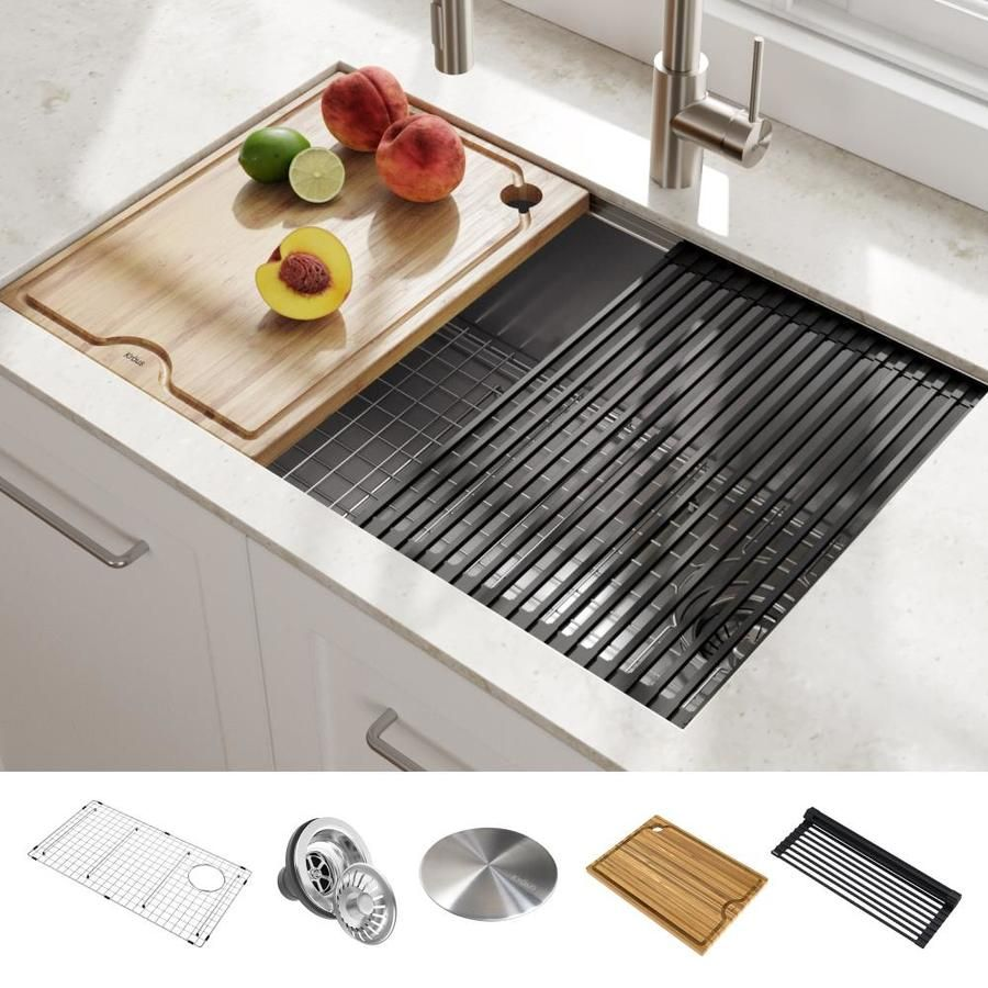 Kraus Kore Workstation Undermount 30 In X 19 In Stainless Steel Single Bowl Workstation Kitchen Sink All In One Kit With Drainboard Lowes Com In 2020 Stainless Steel Kitchen Sink Undermount Stainless Steel Kitchen Sink Stainless