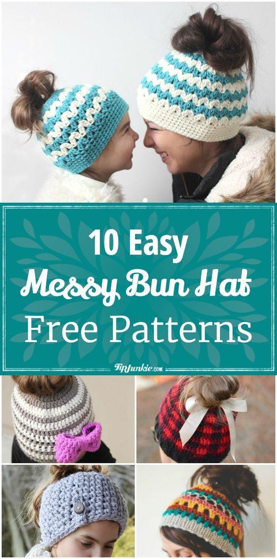 10 Easy Messy Bun Hat Patterns [Crochet & Knit] | spinning ...