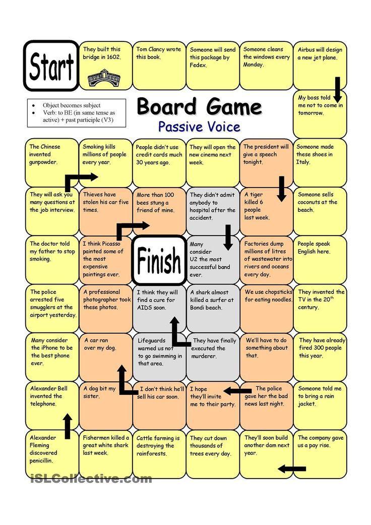 Board Game Passive Voice Esl Board Games Speaking Activities Board Games
