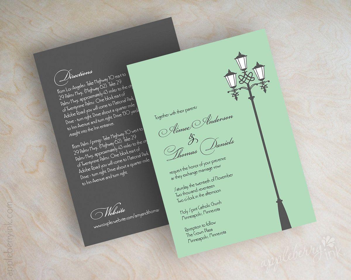 Wedding invitations, victorian lamp post street light design in ...