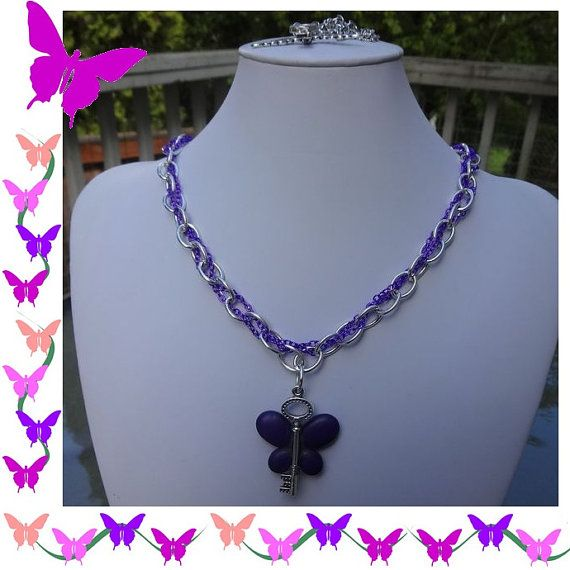 Purple Magnesite Butterfly Winged Key Charming Necklace by HCHeart, $15.00
